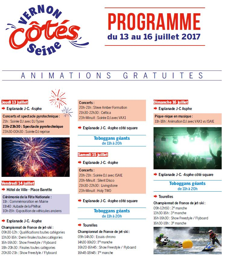 programme Vernon Côtés Seine 2017