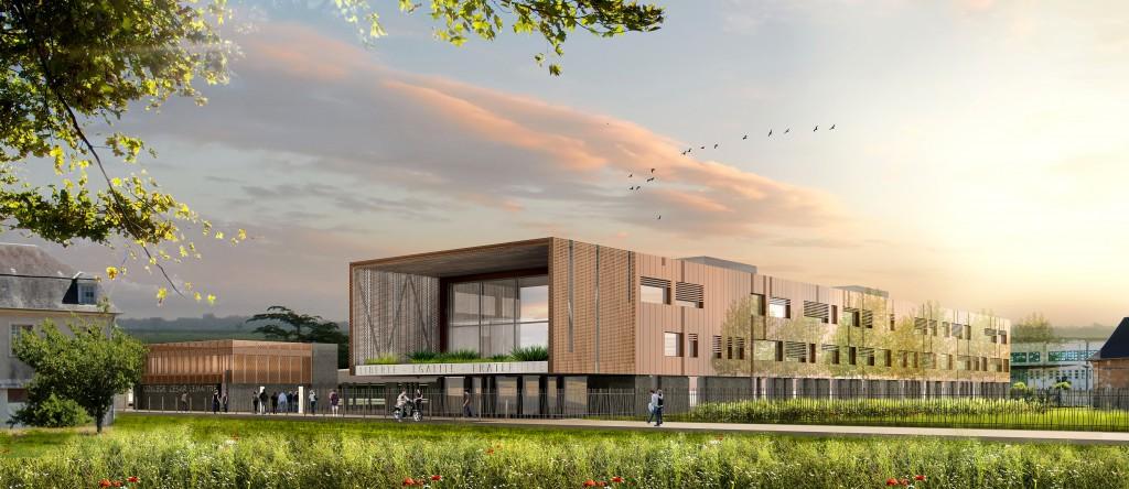 La proue du bâtiment, habillée d'un alliage de cuivre donne un aspect moderne au futur collège.