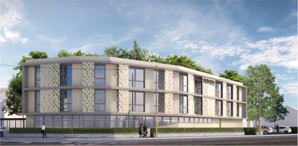 Bâtiment sobre, haut de 2 étages, le nouveau siège s'intégrera à l'esthétique du quartier.