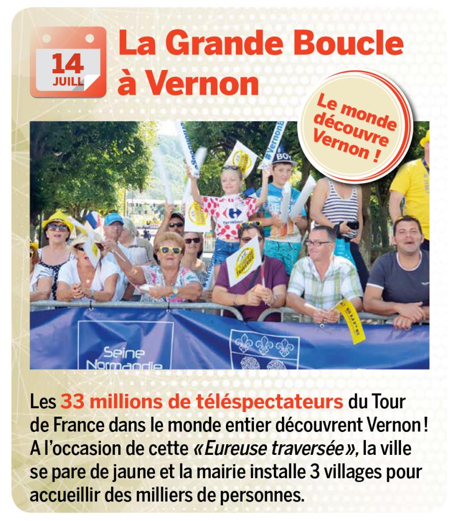 Les 33 millions de téléspectateurs du Tour de France dans le monde entier découvrent Vernon! A l'occasion de cette «Eureuse traversée», la ville se pare de jaune et la mairie installe 3 villages pour accueillir des milliers de personnes.