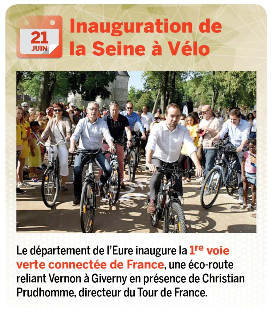 Le département de l'Eure inaugure la 1re voie verte connectée de France, une éco-route reliant Vernon à Giverny en présence de Christian Prudhomme, directeur du Tour de France.