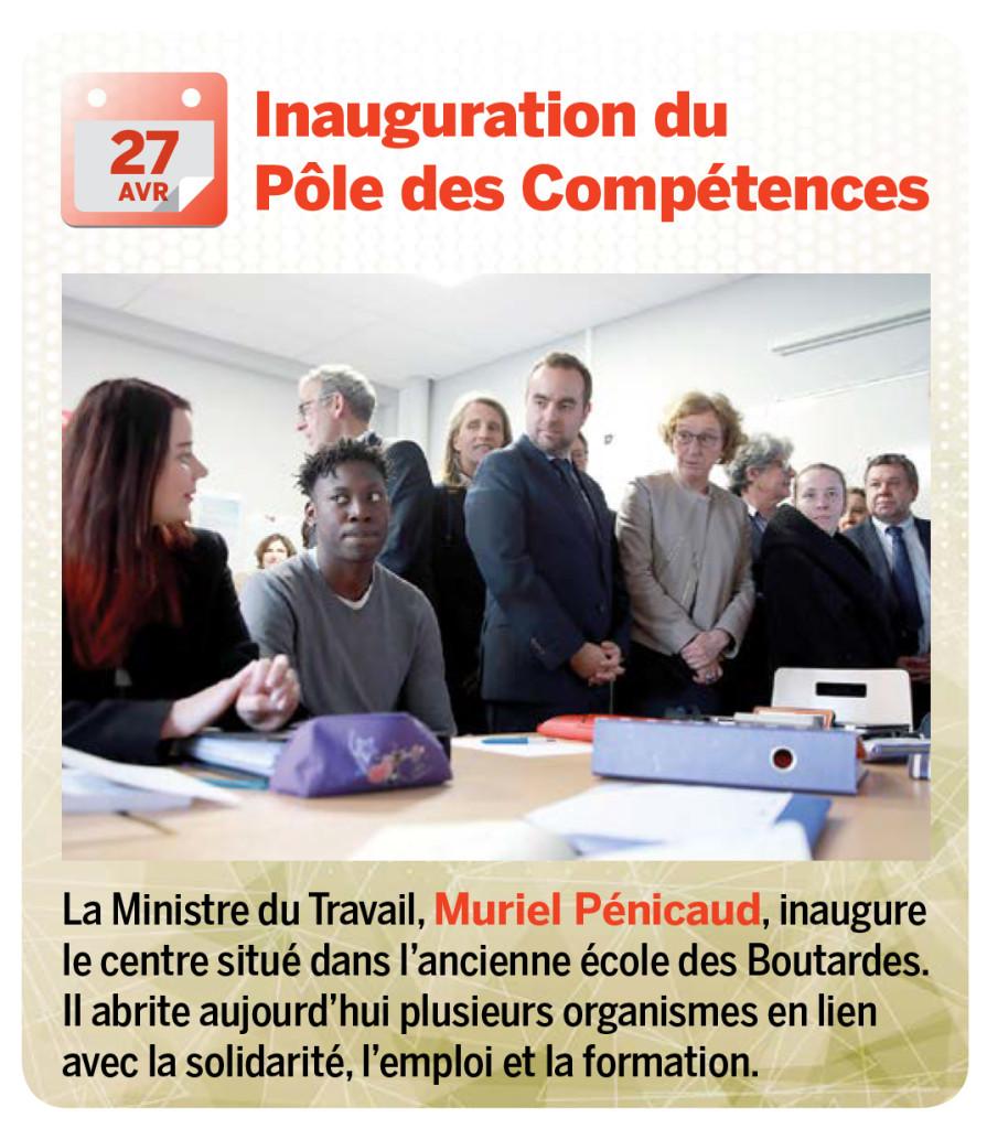 La Ministre du Travail, Muriel Pénicaud, inaugure le centre situé dans l'ancienne école des Boutardes. Il abrite aujourd'hui plusieurs organismes en lien avec la solidarité, l'emploi et la formation.