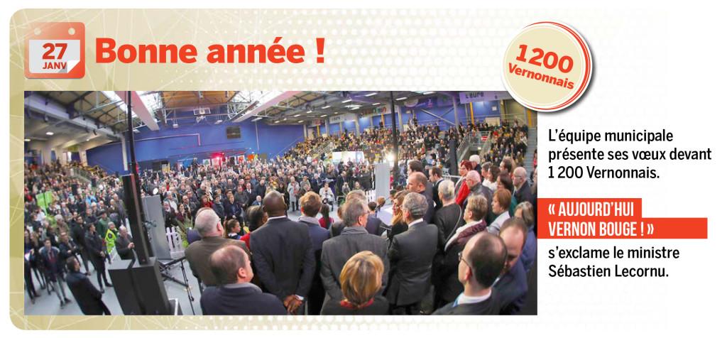 L'équipe municipale présente ses vœux devant 1 200 Vernonnais.  « aujourd'hui Vernon bouge ! » s'exclame le ministre Sébastien Lecornu.