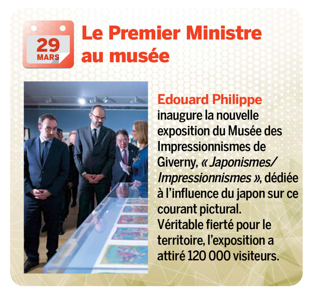 Edouard Philippe inaugure la nouvelle exposition du Musée des Impressionnismes de Giverny, « Japonismes/Impressionnismes », dédiée à l'influence du japon sur ce courant pictural. Véritable fierté pour le territoire, l'exposition a attiré 120 000 visiteurs.