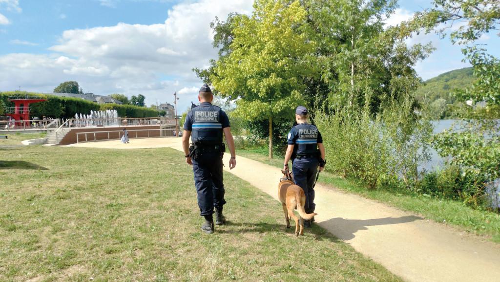 La police municipale effectue de nombreuses patrouilles pédestres avec Indy, le chien de la brigade. Le but : dissuader les comportements malveillants.