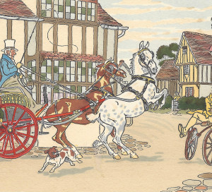 Chevaux, charrettes, vélos et premières automobiles, les véhicules occupent une place importante chez Harry Eliott.