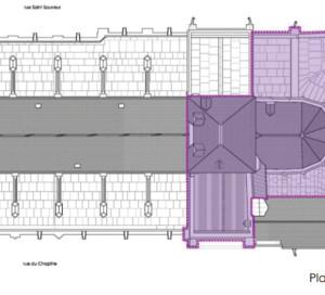 Les parties du bâtiment concernées par la phase 1.