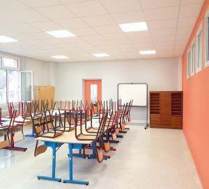 Infotravaux Ecole du Centre Rénovation Eclairage Cloisons Toussaint 2020